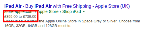Example of rich snippets displaying information about a product price and availability