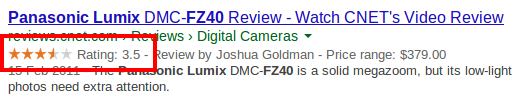 Example of rich snippets displaying review rating