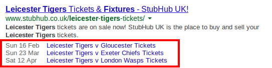 Example of rich snippets displaying information about an event