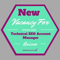 Vacancy for a Technical SEO Account Manager at our Leicester Agency
