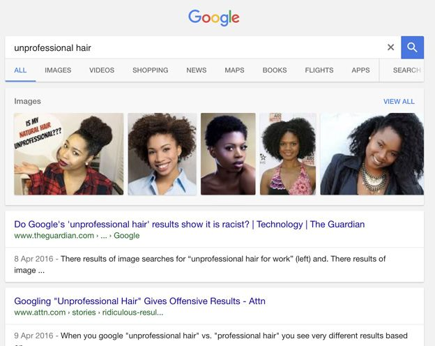 unprofessional hair search result