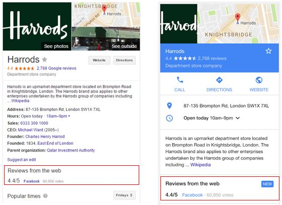 Google Introduces 'Reviews from the Web' To Knowledge Panels