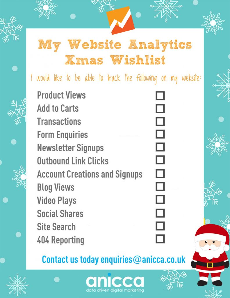 Our Analytics Xmas Tracking Wishlist