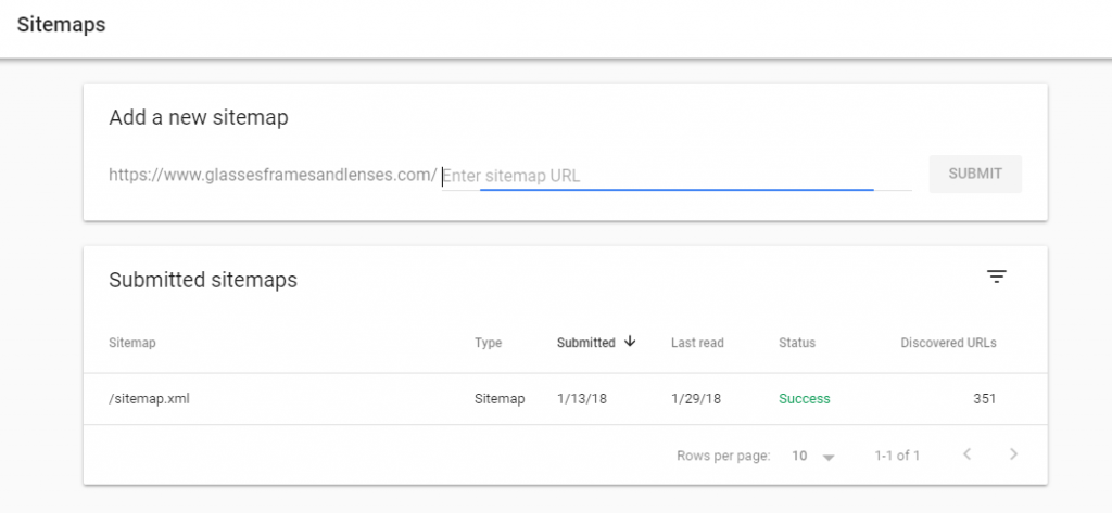 search console sitemap report