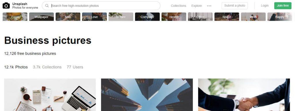 Screenshot of Unsplash website