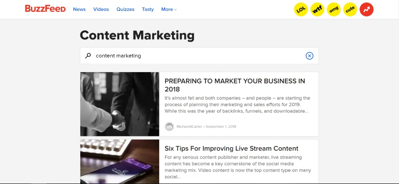 Buzzfeed for content marketing ideas