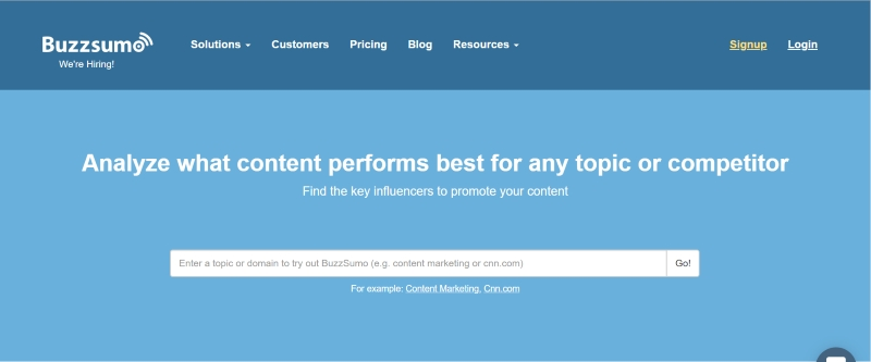 Buzzsumo for content marketing ideas