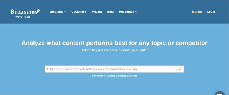 Buzzsumo for content marketing ideas