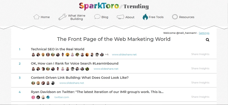 SparkToro for content marketing ideas