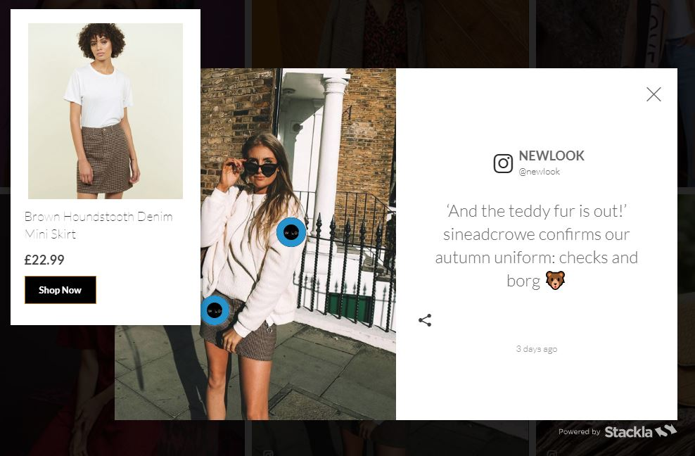 An example of shopping New Look's instagram