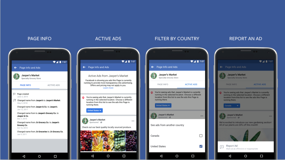 Facebook Transparency Features Example
