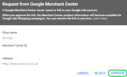 Approve Merchant Center Request