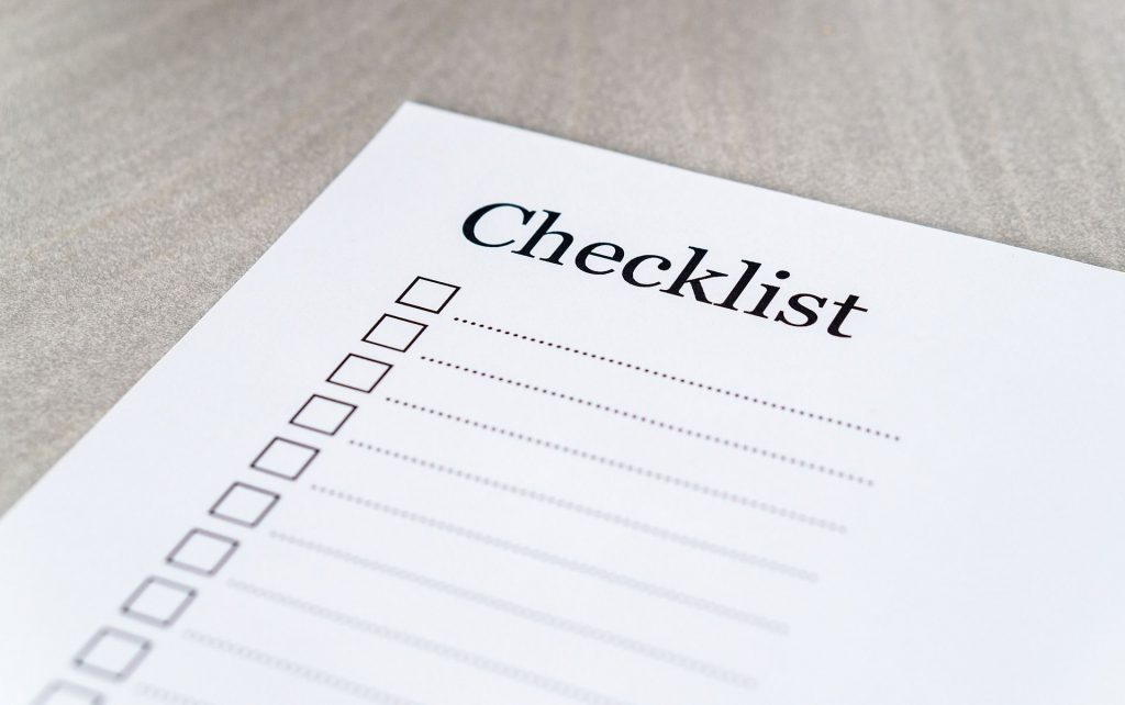 Sheet of paper with written checklist
