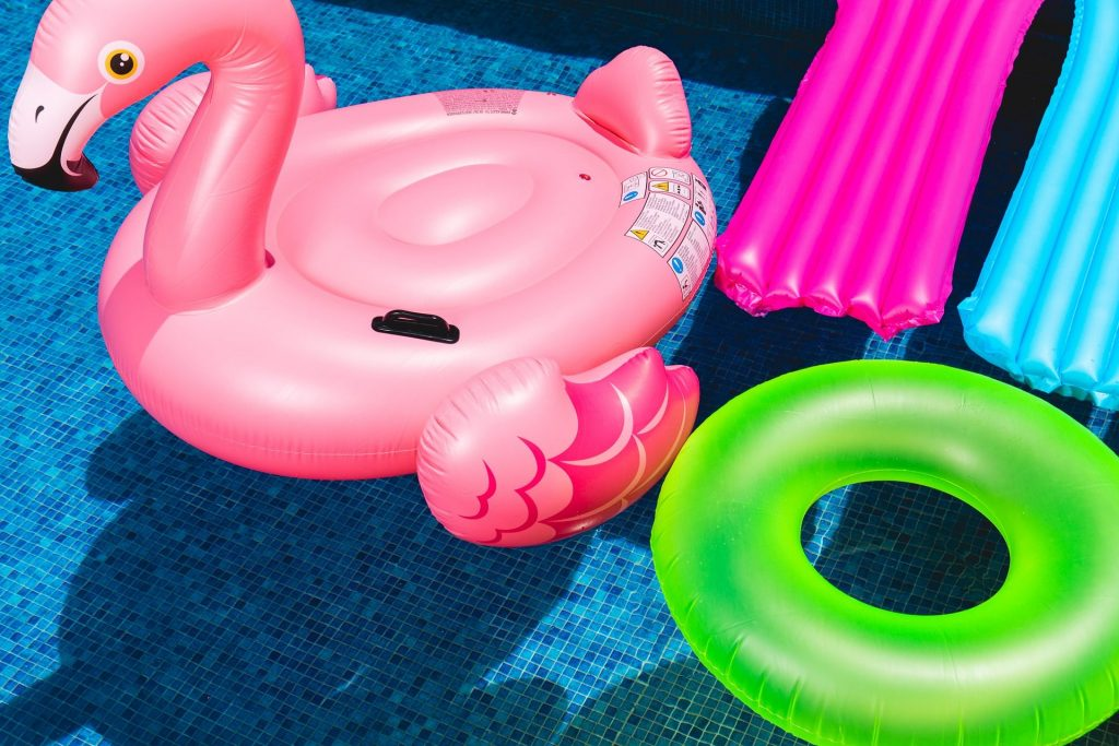 Inflatable toys in a swimming pool