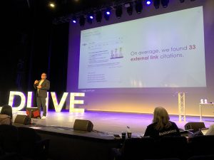 Fernando of SEMrush explains featured snippets at Leicester Digital Live.