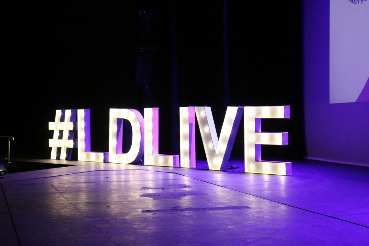 Leicester Digital Live sign on stage at the conference